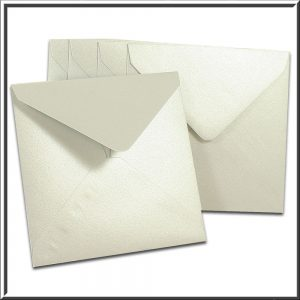 10 Square Pearlescent Silver Envelopes