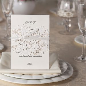 Band of Flowers' & Ribbon Laser Cut Invitations