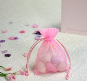 Voile Pink Sheer Favour Bag 7 x 10cm