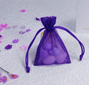 Voile Purple Sheer Favour Bag 7cm x 10cm
