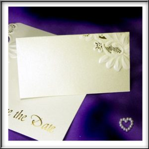 Floral Embossed Shimmer Wedding Place Cards