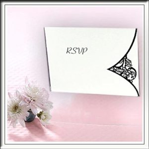 Black and White Printed Detail Wedding RSVP Cards