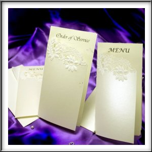 Floral Embossed Ivory Shimmer Wedding Menus/Order of Service