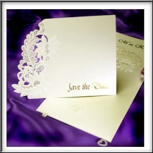 Floral Embossed Ivory Shimmer Save the Date Cards For Weddings
