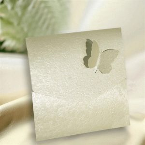 10 Ivory (Cotton White) Applique Butterfly Pocketfold Invitations.