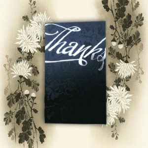 Black Broderie Embossed Wedding Thanks Cards