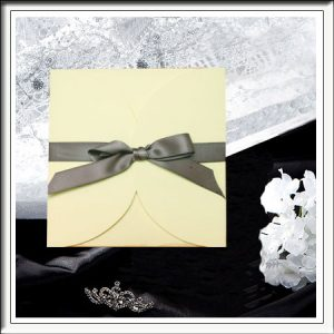 Textured Ivory Lily Pad Wedding Invitatons
