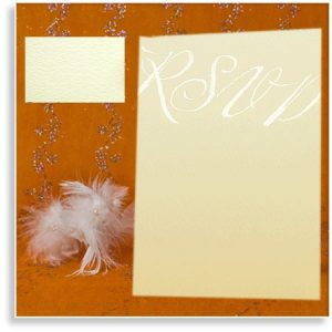 Ivory Textured Wedding RSVP Cards