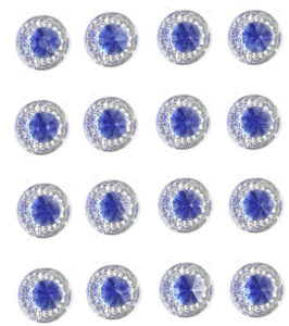 Amalfi Self Adhesive Royal Blue Round wth Mini Crystals 12 mm