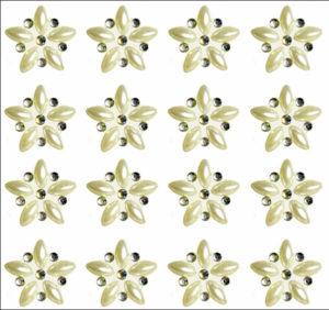 Luni Mini Pearl & AB Crystal Self Adhesive Flowers 24 per sheet
