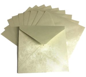 Ivory Broderie Square Envelopes Pack of 10