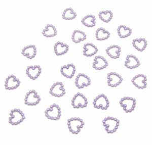Lilac Pearl Heart Shape Bead Double Sided 11mm