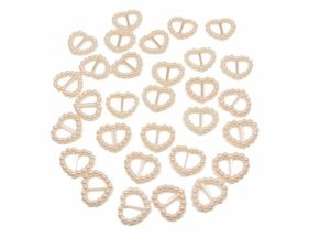 Light Pink Pearl Heart Shaped Ribbon Slider Buckles. Pack of 50 Beads