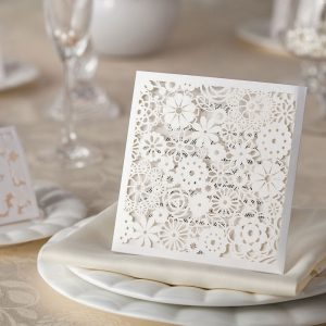 Petals' Laser Cut Wedding Invitations Square Wallet
