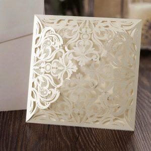 10 'MADELEINE' Ivory Square Floral Blank Laser Cut Invites