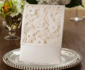 CHLOE' Laser Cut Wedding Invitations Pocket
