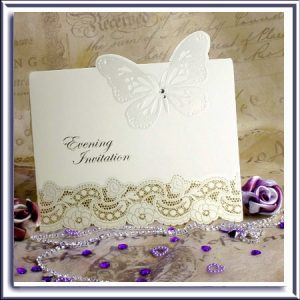 3D Diamante and Butterfly Laser Cut Evening Invitations