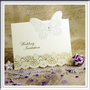 3D Diamante and Butterfly Laser Cut Wedding Stationary