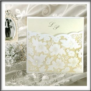 Lace & Pearls Laser Cut Invitation Pocket
