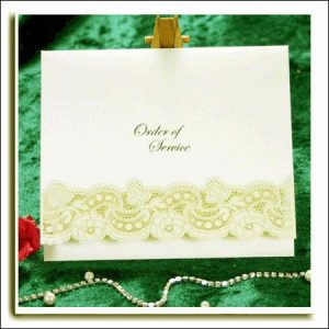 10 Ivory Dream Silver Embossed Laser Cut Wedding Order of Service