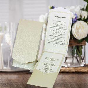 10 HAKANA Ivory (Cotton White) Applique Portrait Pocketfold Invites