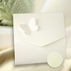 10 White Textured Butterfly Wedding Pocketfold Invitations.