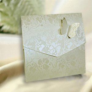 10 Ivory Broderie Butterfly Wedding Pocketfold Invitations.