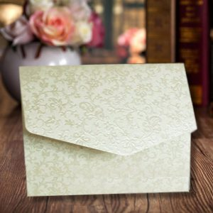 10 Ivory (Cotton White) Applique A6 Pocketfold Wedding Invitations