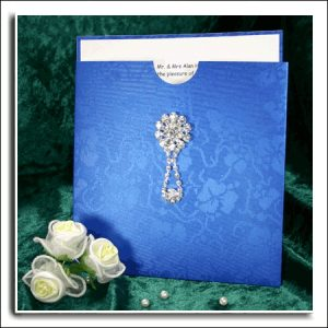 10 REGAL BLUE BRODERIE Square Wedding Wallets