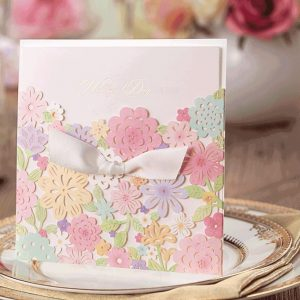 50 Eleonora Pastel Floral Personalised Laser Cut Invitations With Satin Ribbon Bow £3.43 each