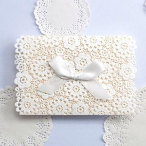 50 Marta Floral Laser Cut Personalised Invitations With Satin White Bow £3.43 each