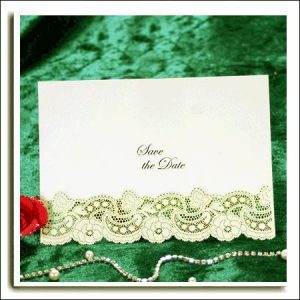 10 Ivory Dream Shimmer Laser Cut Save the Date Cards