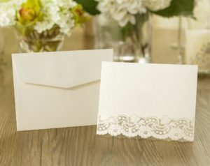 10 Blank Laser Cut Card Ivory Pearlescent Finish 'postcard style'