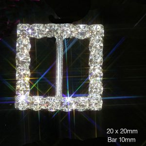 Square Grade A Rhinestone Crystal Diamante Ribbon Slider Buckles