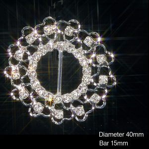 Round Filigree Rhinestone Diamante Crystal Ribbon Slider Buckles