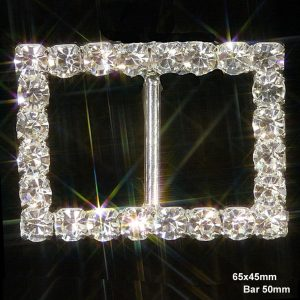 Rectangle Grade A Rhinestone Diamante Ribbon Slider Buckles
