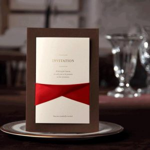 50 Federica Chocolate and Red Satin Ribbon Personalised Laser Cut Invitations £3.33 each
