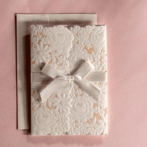 50 Maria Embossed Raised White Flower personalised invitations In Pale Peach £3.27 each