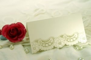 Ivory Dream Shimmer Laser Cut Wedding Place Cards