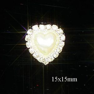 Mini Diamante and Pearl Heart Embellishments Grade A Rhinestones