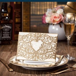 50 Giorgia Bronze Shimmer Laser Cut Heart Personalised Invitations £3.15 each