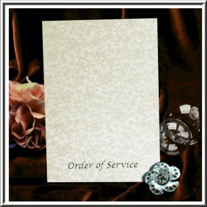 Ivory (Cotton White) Applique Order of Service/Wedding Programme