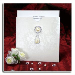 Ivory Broderie Floral Embossed Square Wedding Wallets