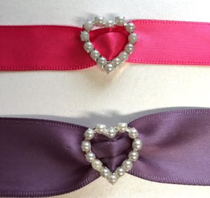 Pearl Heart Ribbon Sliders (WITH VERTICAL BAR)