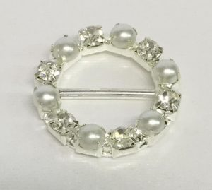 Round Pearl and Diamante Ribbon Slider Buckles