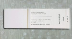 Perforated Ivory Inserts for Cheque Book Invites