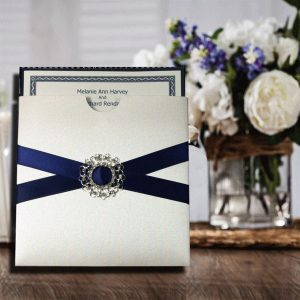 10 Navy Satin Ribbon Cross with Filigree Buckle Personalised