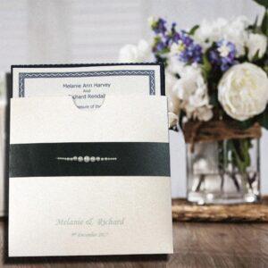 White & Black Pearl Embellished Wallet Personalised