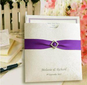 10 Diamante & Purple Broderie Ivory Wallet Personalised Invitation
