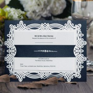 10 april Navy & pearls personalised invitation with printed inserts